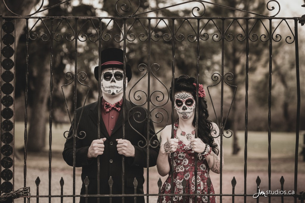 Paige and Michael's sugar skull #Engagement Session at Riley Park. #EngagementPhotos by Calgary Engagement Photographers JM Photography © 2016 http://www.JMweddings.ca #JMweddings #JMstudios #JMphotography #EngagementPhotography #EngagementPhotos #SkullCandy #SkullCandyEngagement #SkullCandyMakeup #RileyPark