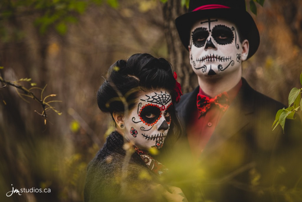 Paige and Michael's sugar skull themed #Engagement Session at Riley Park. #EngagementPhotos by Calgary Engagement Photographers JM Photography © 2017 http://www.JMstudios.ca #JMweddings #JMstudios #JMphotography #EngagementPhotography #SkullCandy #SkullCandyEngagement #SkullCandyMakeup #RileyPark
